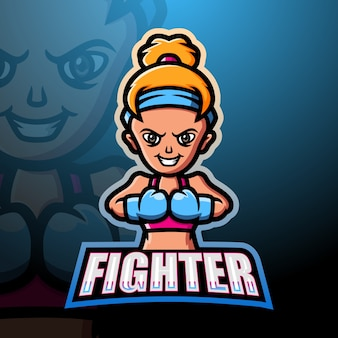 Illustration d'esport mascotte femme combattante