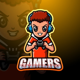 Illustration d'esport mascotte gamer boy