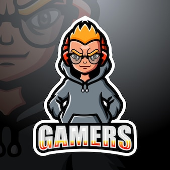 Illustration d'esport mascotte gamer boy