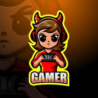 Illustration d'esport mascotte gamer girl