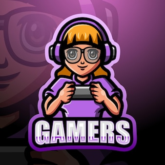 Illustration d'esport mascotte gamer girl