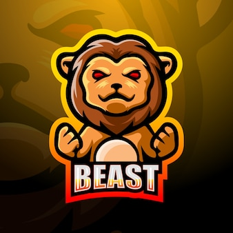 Illustration d'esport de mascotte de lion