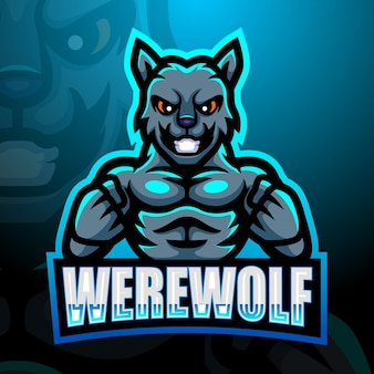 Illustration d'esport de mascotte de loup-garou