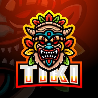 Illustration d'esport de mascotte de masque de tiki