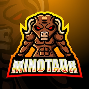 Illustration esport mascotte minotaure