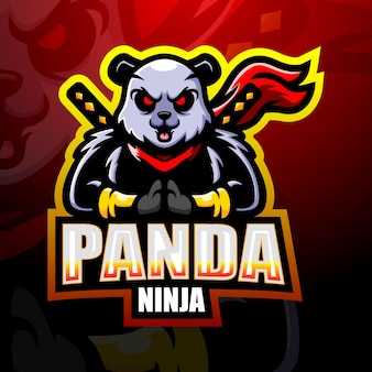 Illustration esport mascotte panda ninja