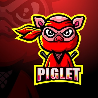 Illustration d'esport de mascotte de porcelet ninja