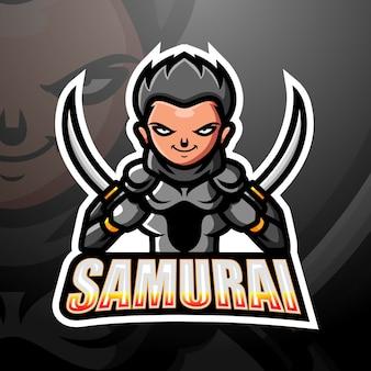 Illustration d'esport de mascotte de samouraï