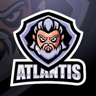 Illustration d'esport de mascotte de tête d'atlantis