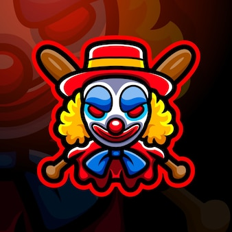 Illustration d'esport mascotte tête de clown