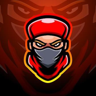 Illustration d'esport de mascotte de tête de ninja