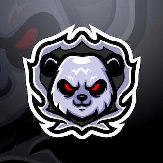 Illustration d'esport de mascotte tête de panda