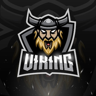 Illustration d'esport de mascotte de tête de viking