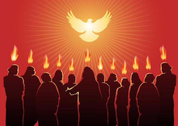 Une illustration de l'esprit saint du dimanche de pentecôte. série biblique