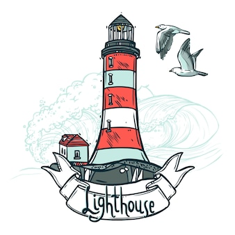 Illustration d'esquisse de phare