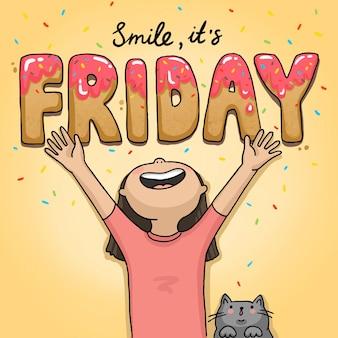Illustration c'est vendredi fille drôle avec un chat
