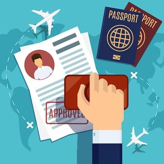 Illustration d'estampillage de visa