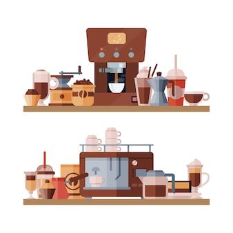 Illustration d'étagère d'éléments de café.