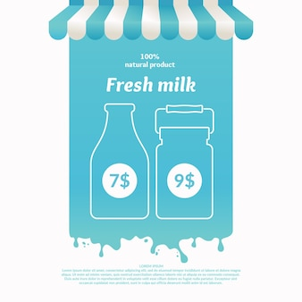 Illustration d'un étal de vente de produits laitiers de rue. contexte pour la publicité du lait. affiche pour la boutique ou le site web
