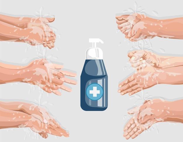 Illustration des étapes de nettoyage des mains prévention de l'hygiène des mains