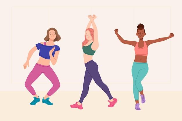 Illustration d'étapes de remise en forme de danse dessinée à plat avec des gens