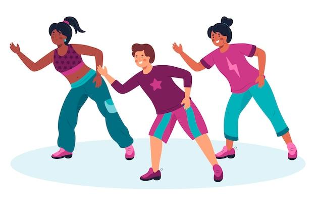 Illustration Des étapes De Remise En Forme De Danse Dessinés à La Main Vecteur gratuit