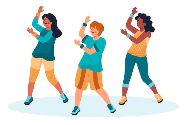 Illustration des étapes de remise en forme de danse dessinés à la main