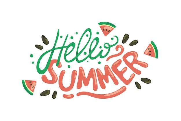 Illustration d'été bonjour dessiné à la main