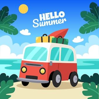 Illustration d'été de dessin animé