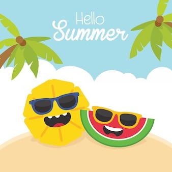 Illustration d'été drôle bonjour avec des personnages de pastèque et d'ananas