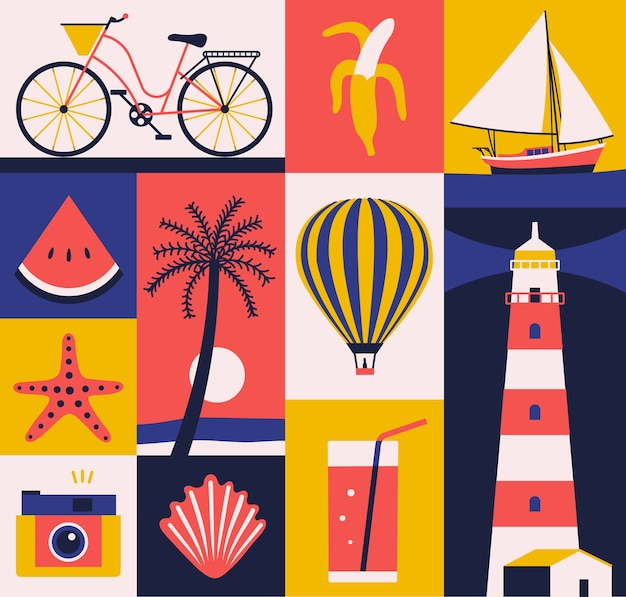 Illustration de l'été, jeu d'icônes, affiche de voyage, arrière-plan.