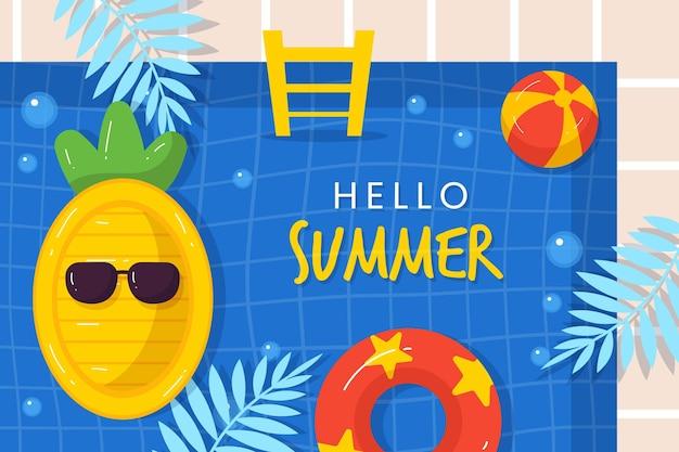 Illustration d'été plat bio bonjour