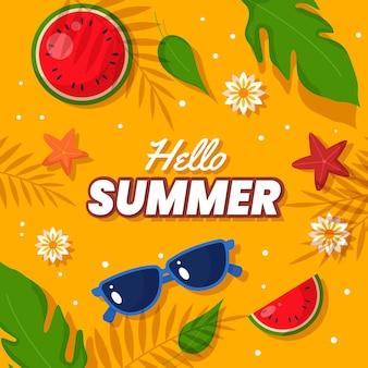 Illustration d'été plat bonjour