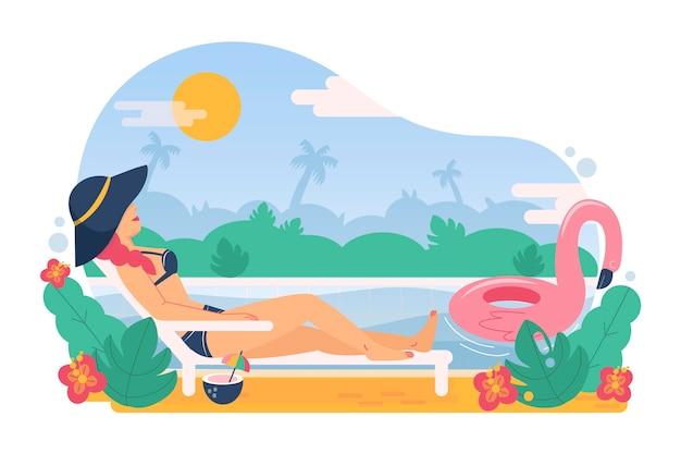 Illustration d'été plat organique