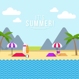 Illustration d'été plat