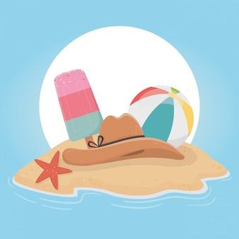 Illustration d'été et de vacances avec conception d'éléments de plage