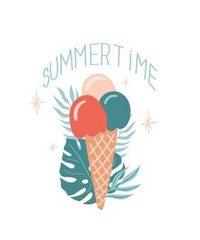 Illustration d'été de vecteur avec la feuille de monstera de crème glacée et le lettrage summertime