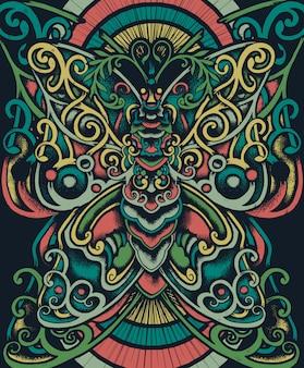 Illustration ethnique de papillon floral