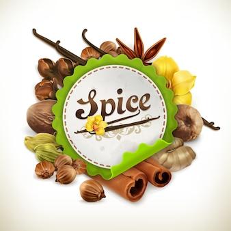 Illustration d'étiquette d'épice