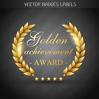 Illustration d'étiquette de récompense d'or