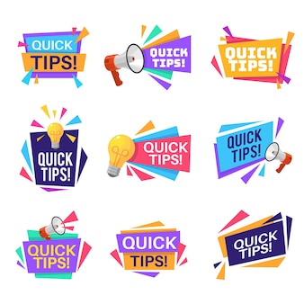 Illustration d'étiquettes de conseils rapides
