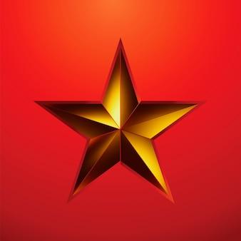 Illustration d'une étoile d'or sur rouge.