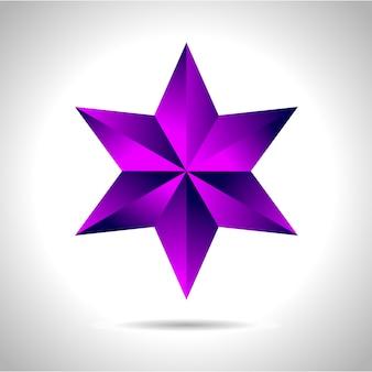 Illustration d'une étoile en or violet sur fond en acier. file nouvel an noël
