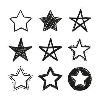 Illustration des étoiles de contour isolé sur fond blanc.