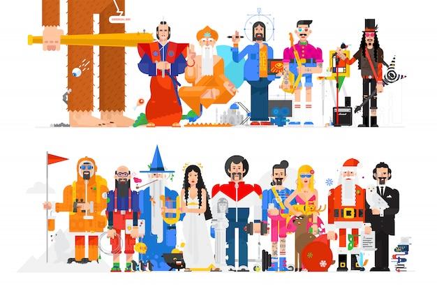 Illustration étonnante de personnes dans différentes professions