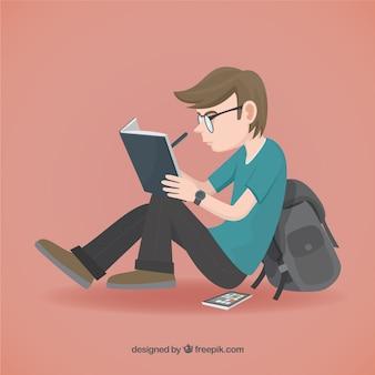 Illustration De L'étudiant Vecteur Premium