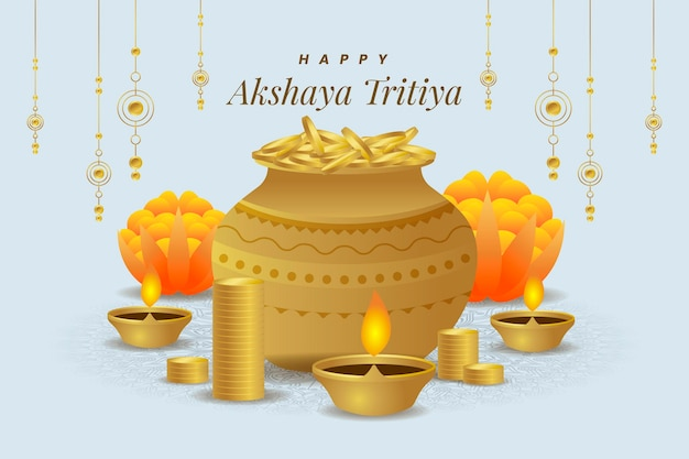 Illustration de l'événement akshaya tritiya avec ornements