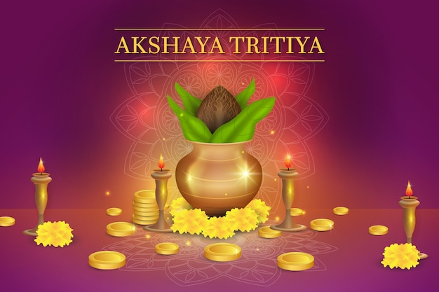 Illustration de l'événement akshaya tritiya avec des pièces d'or et des ornements