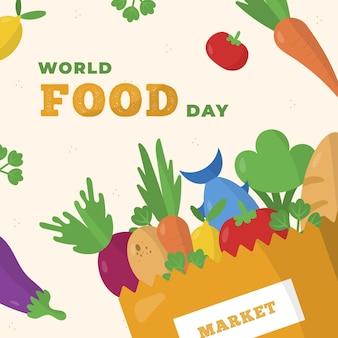 Illustration de l'événement de la journée mondiale de la nourriture plate avec des légumes et du poisson