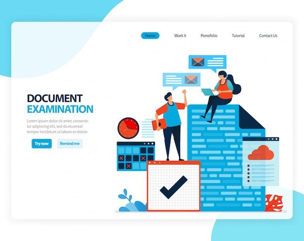 Illustration de l'examen des documents. vérification des documents juridiques pour l'enregistrement, la fiscalité, les opérations bancaires. dessin animé plat
